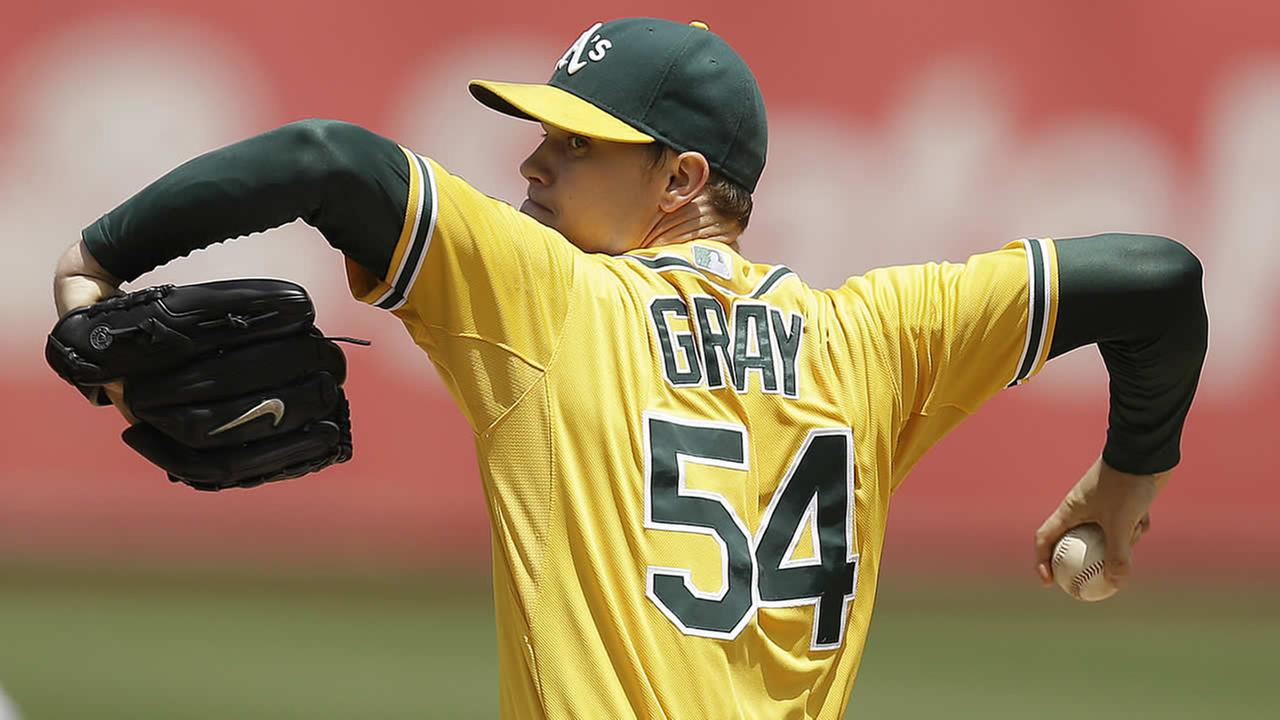 Oakland Athletics Sonny Gray works against the Baltimore Orioles in the first inning of a baseball game Sunday, July 20, 2014, in Oakland, Calif. (AP Photo/Ben Margot)
