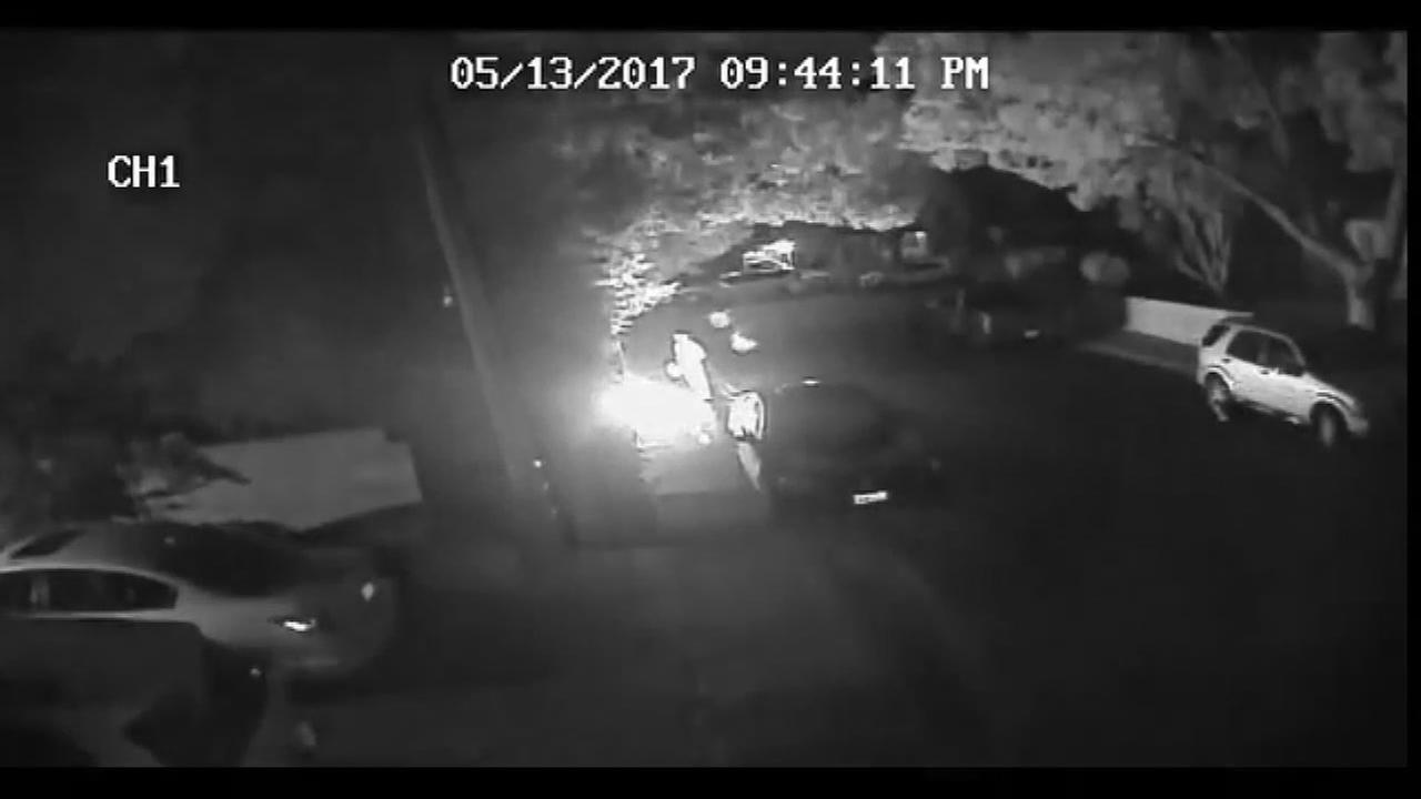Surveillance video captured a man setting a fire in Redwood City, Calif. on May 13, 2017.