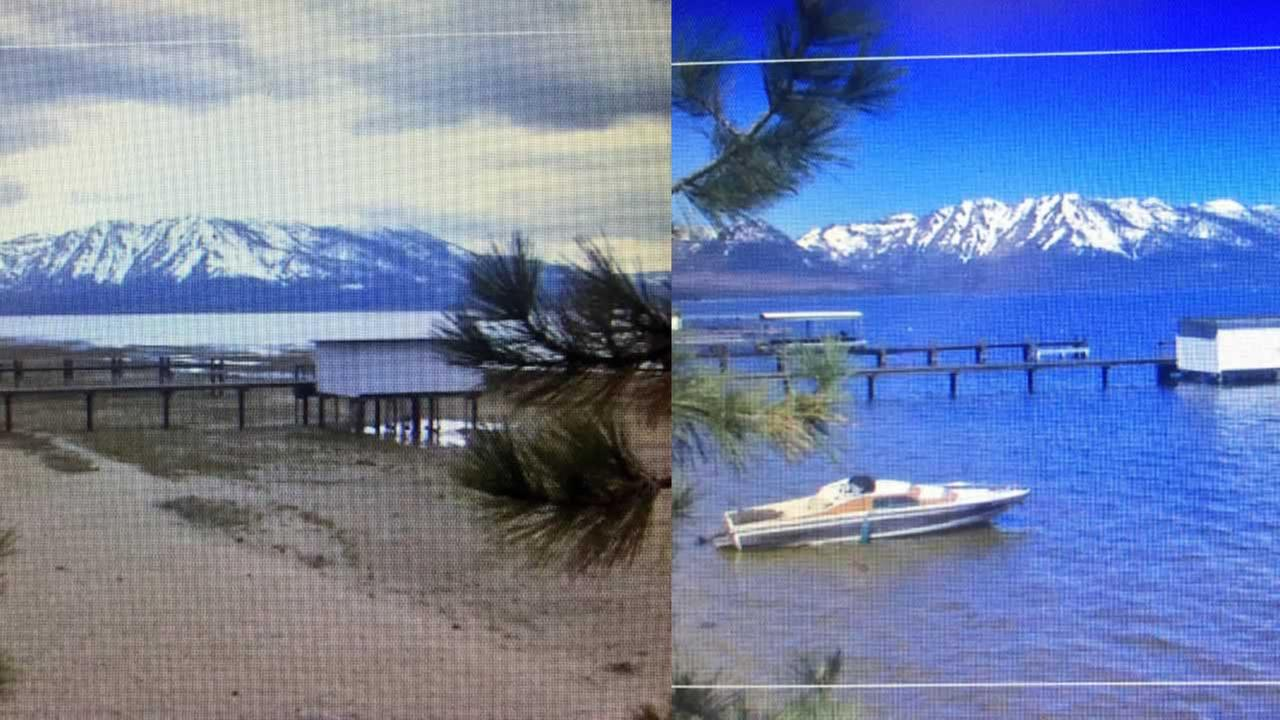 This pier at Regan Beach in South Lake Tahoe was dry last year, left, but is now completely surrounded by water this year, right.