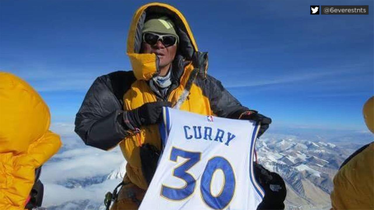 Sherpa takes Steph Curry jersey to top of Mount Everest