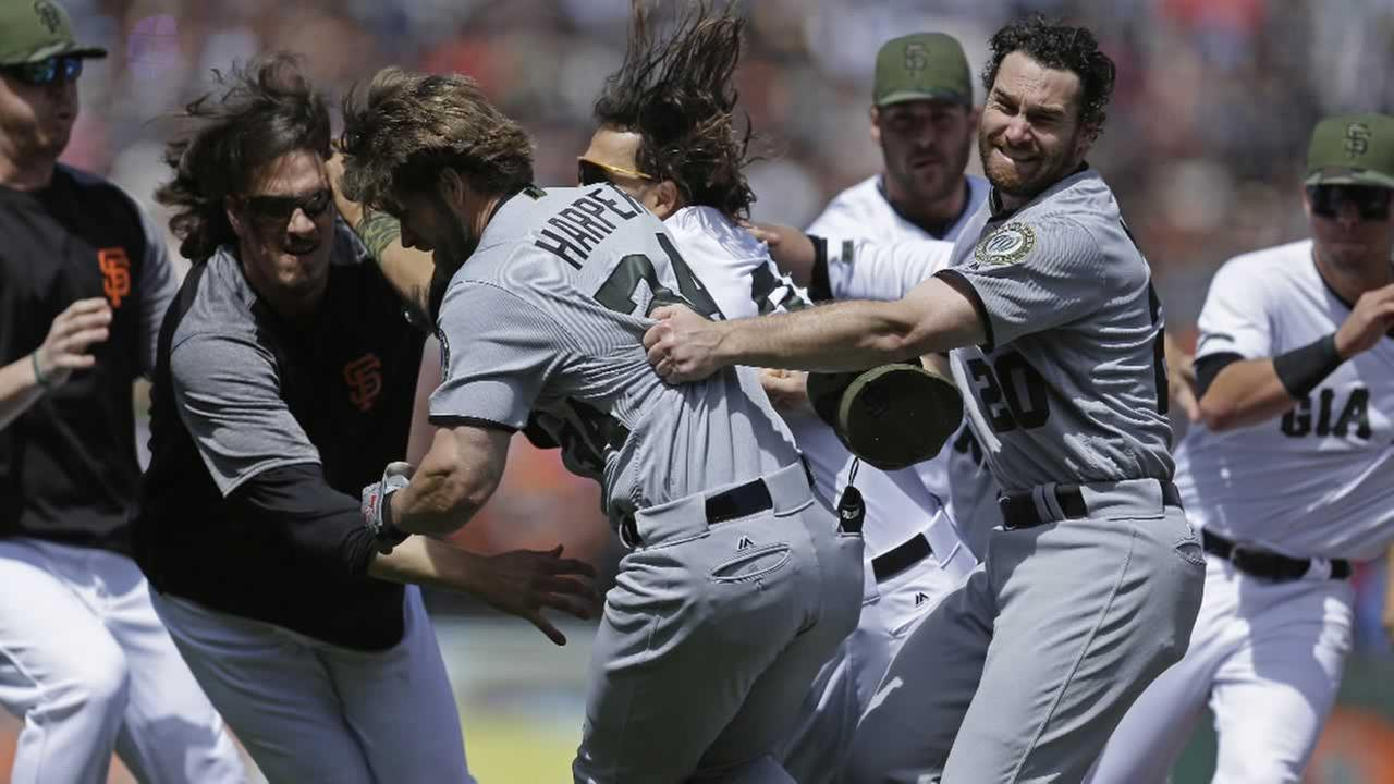 Nationals Bryce Harper charged Giants Hunter Strickland after being hit with a pitch during a baseball game Monday, May 29, 2017, in San Francisco.
