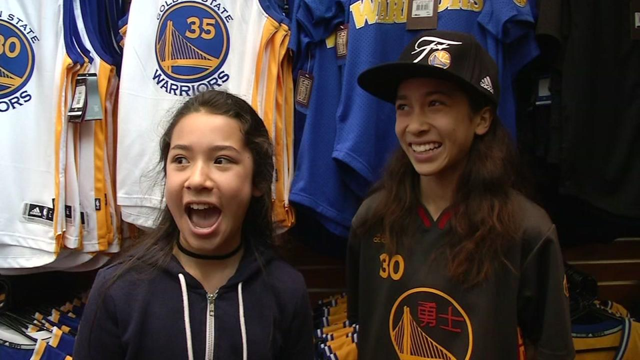 Poinciana and Madison Hung-Haas talk trash about the Cleveland Cavaliers ahead of the NBA Finals in Oakland, Calif. on Monday, May 29, 2017.