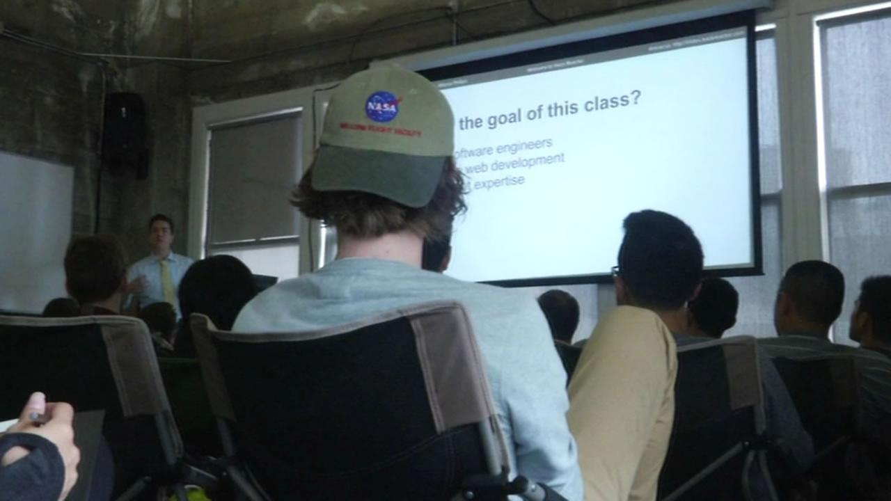 Students in Hack Reactor coding boot camp class in San Francisco.