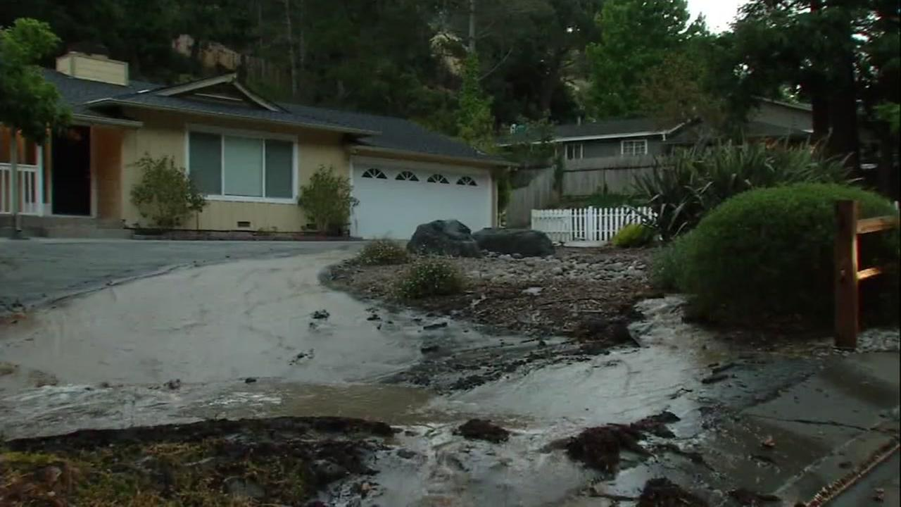 Water main break in Belmont, California, Friday, June 2, 2017.