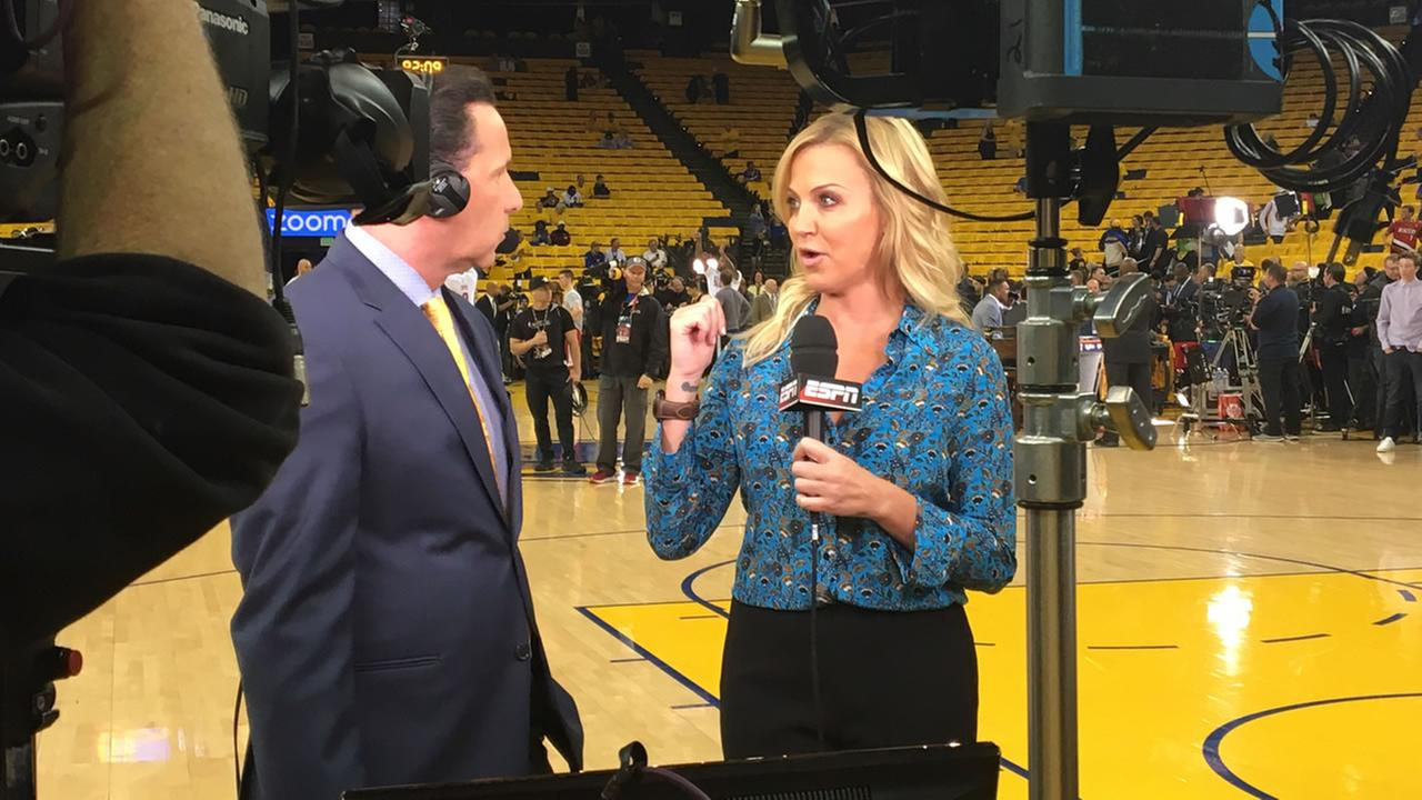 Larry Beil and ESPNs Michele Beadle before game 2 of the NBA Finals in Oakland, Calif. on Sunday, June 4, 2017.KGO-TV