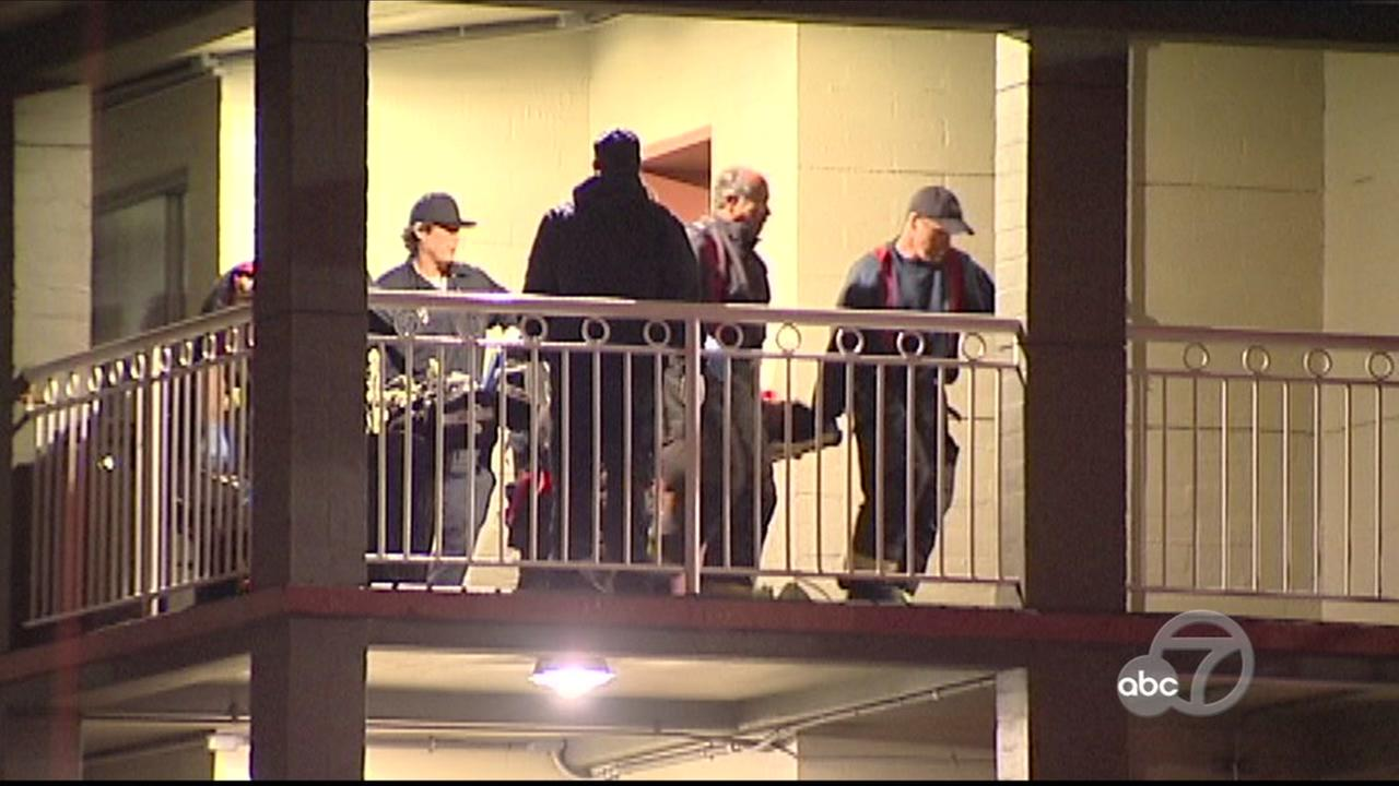 Police investigate attack allegedly involving hammer at Travelodge in San Francisco, Wednesday, June 7, 2017.