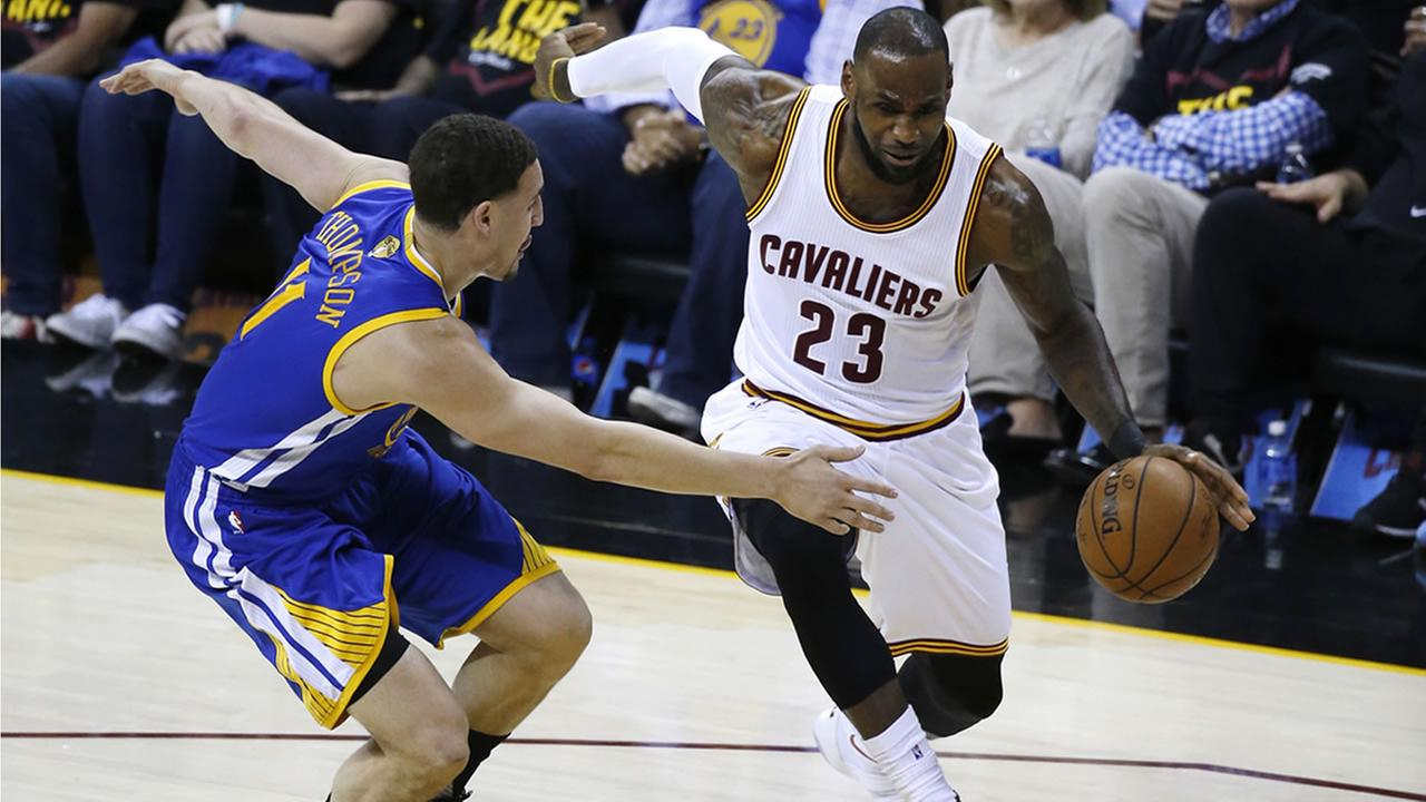 Klay Thompson guards LeBron James during game three of the NBA Finals in Cleveland, Ohio on Wednesday, June 7, 2017.AP