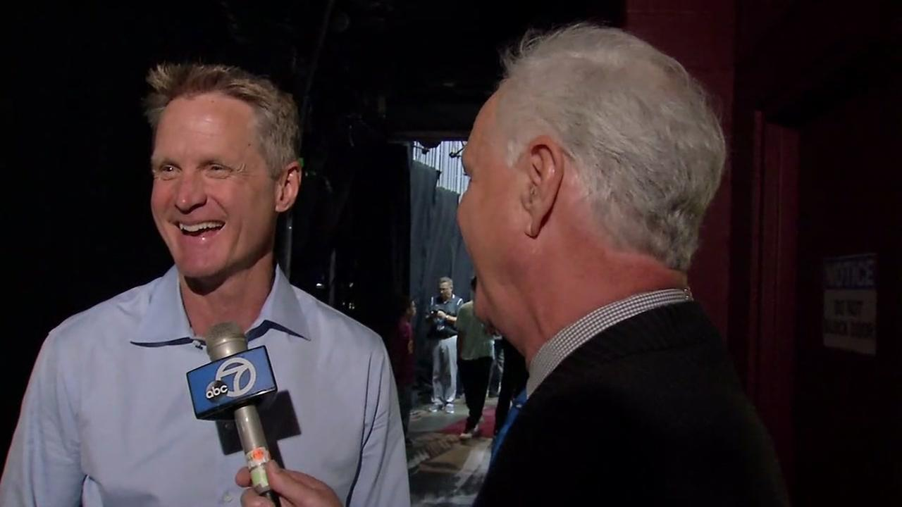 Warriors Coach Steve Kerr talks to ABC7s Mike Shumann after Game 3 of the NBA Finals in Cleveland on Wednesday, June 7, 2017.