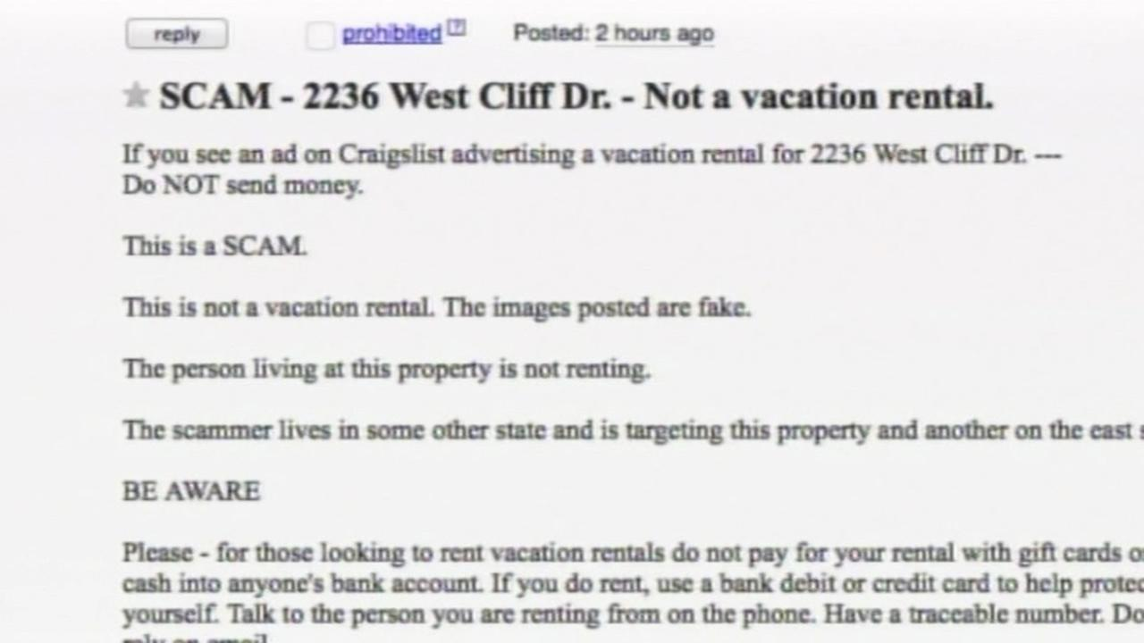 Person warns about rental scam on Craigslist.