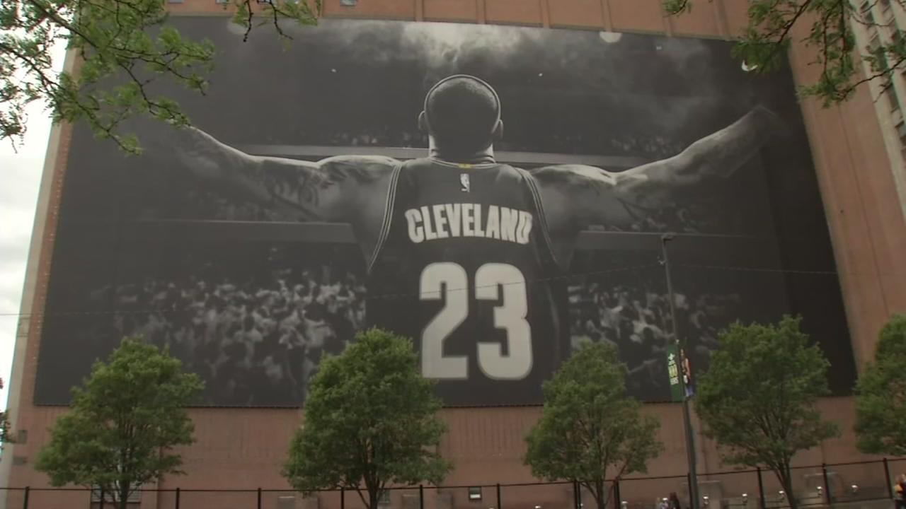 A LeBron James mural is pictured in Cleveland on Friday, June 9, 2017.
