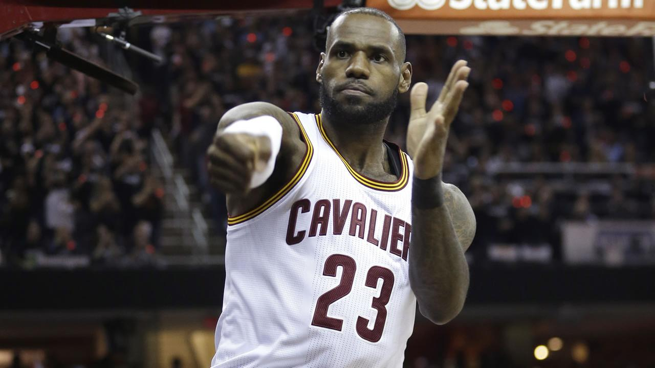 LeBron James appears on the court during game 4 of the NBA Finals on June 9, 2017.AP