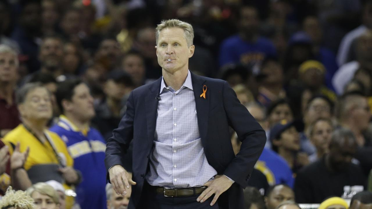 Golden State Warriors head coach Steve Kerr watches from the sidelines during Game 4 of the NBA Finals in Cleveland, Ohio on June 9, 2017.AP