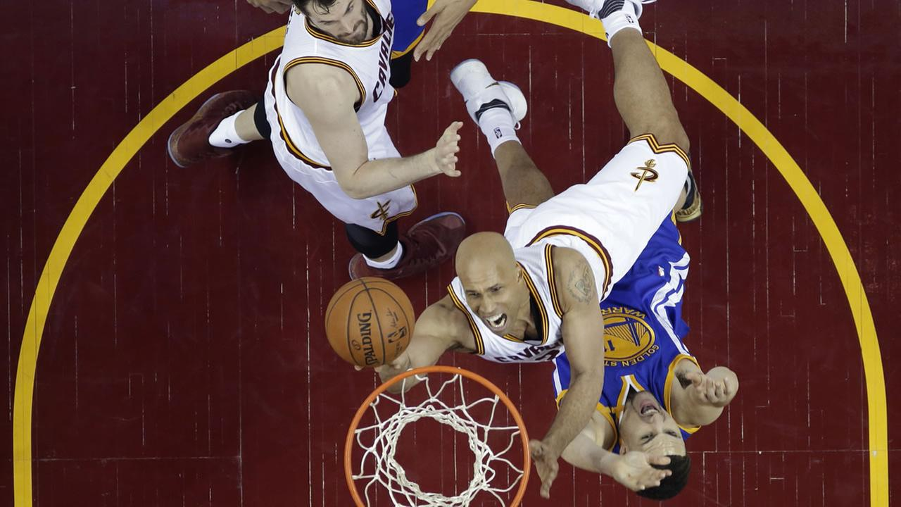 Cavaliers Richard Jefferson takes a shot during Game 4 of the NBA Finals in Cleveland, Ohio on June 9, 2017.AP