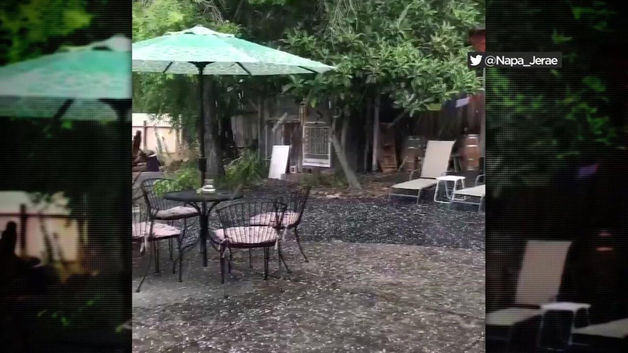 Hail is seen falling in Napa on Sunday, June 11, 2017.