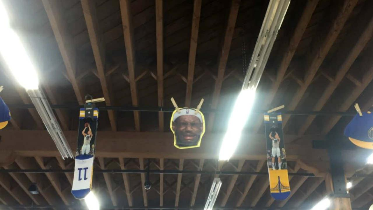 A picture of a crying LeBron James is seen in a San Francisco Sports Basement store on Sunday, June 11, 2017.