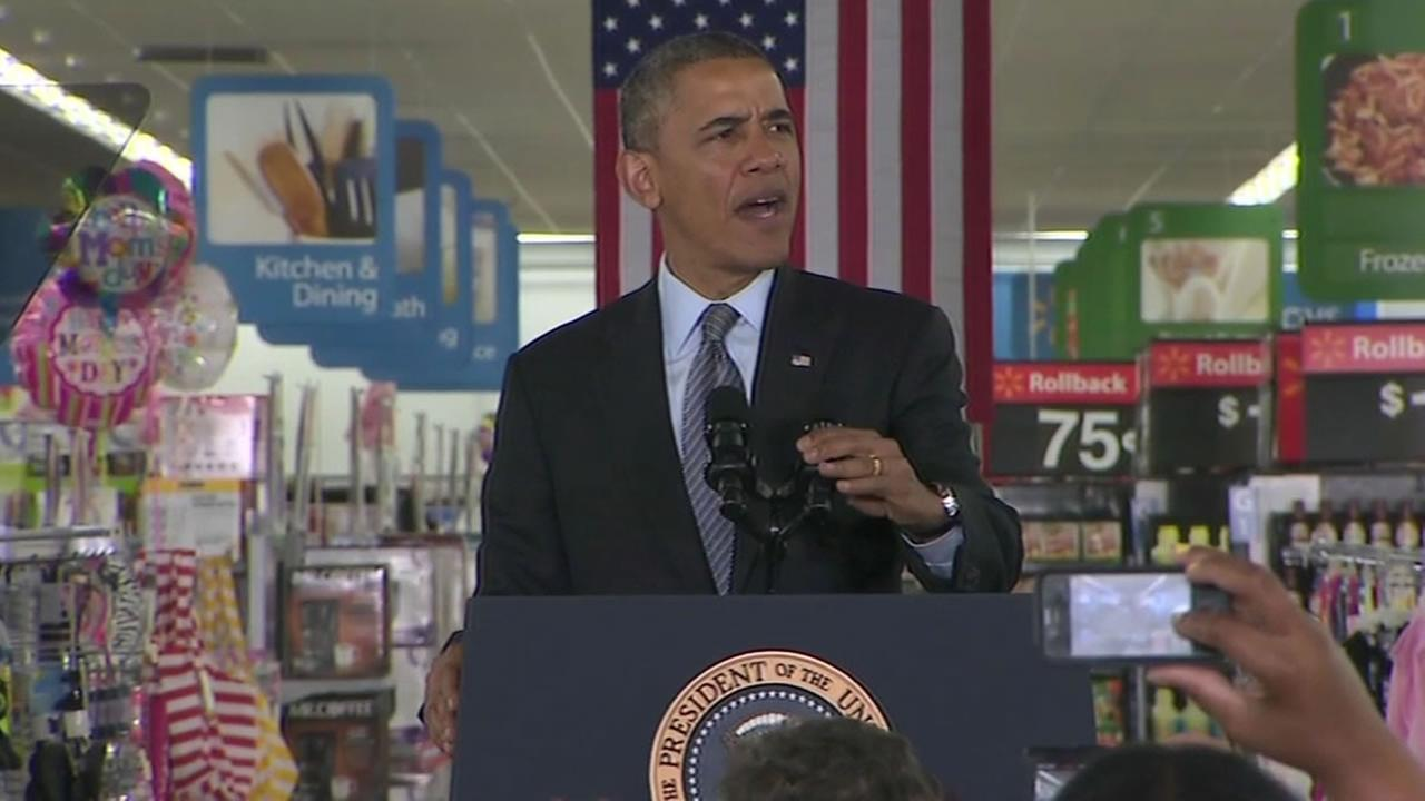 President Barack Obama giving an energy speech at Walmart in Mountain View in May 2014.