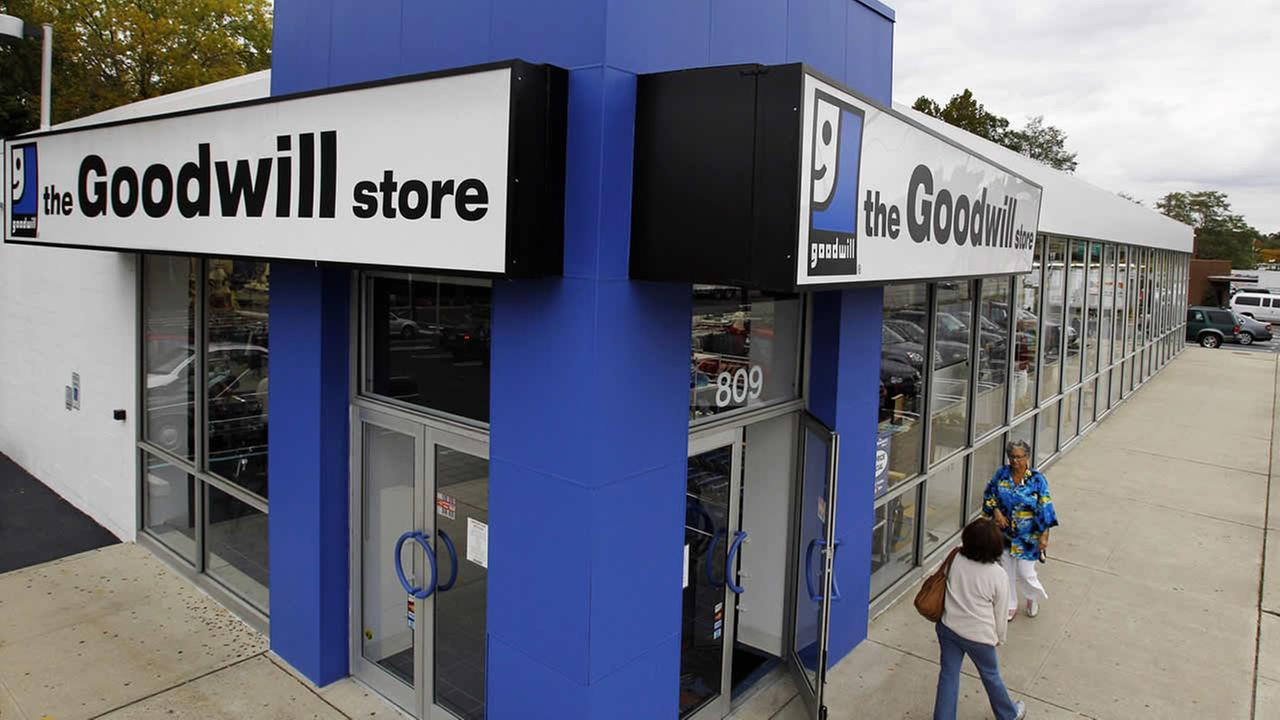 In this Oct. 14, 2010 photo, shoppers go into a Goodwill store in Paramus, N.J. (AP Photo/Mel Evans)