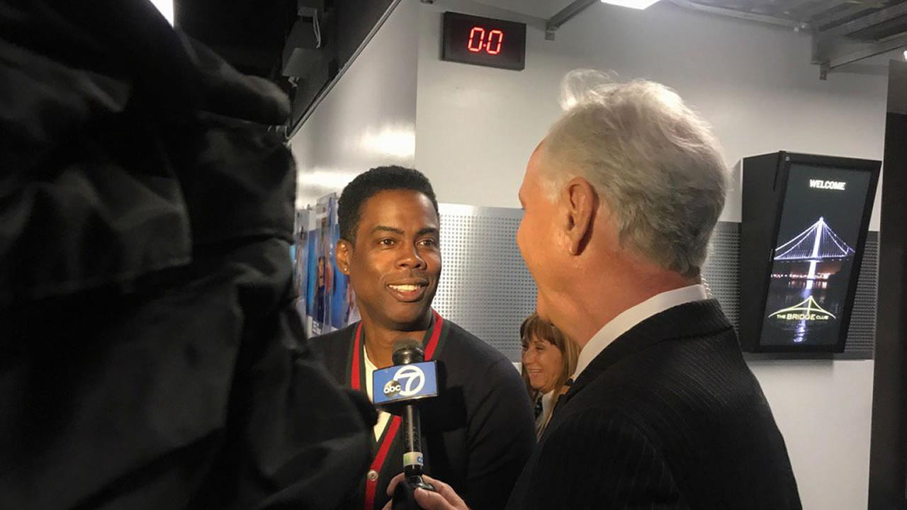 Mike Shumann interviews Chris Rock after Game 5 of the 2017 NBA Finals in Oakland, Calif. on Monday, June 12, 2017.KGO-TV