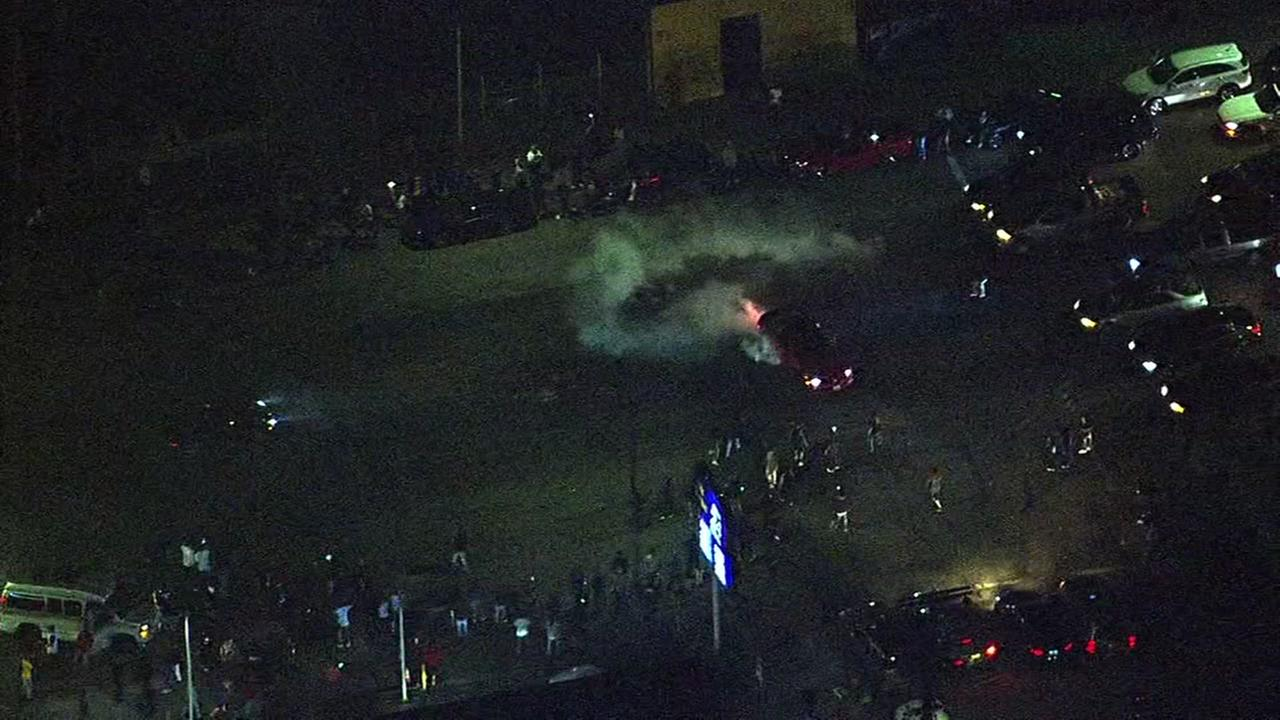 A sideshow took place following the Warriors win at 101st and International Blvd. in Oakland, Calif. on Monday, June 12, 2017.KGO-TV