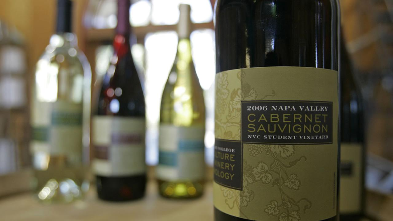 Shown are finished wines produced by the winemaking classes at the Napa Valley College in Napa, Calif., Friday, Sept. 26, 2008. (AP Photo/Eric Risberg)