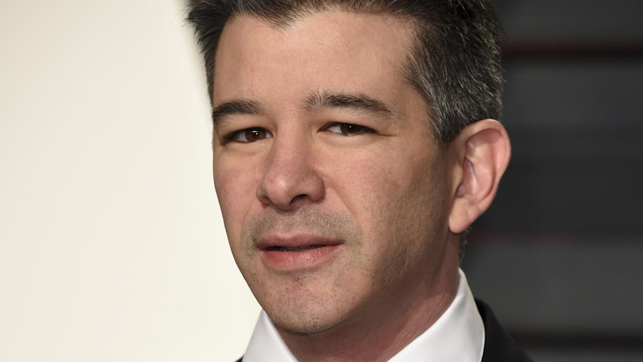 FILE - In this Sunday, Feb. 26, 2017, file photo, Uber CEO Travis Kalanick arrives at the Vanity Fair Oscar Party in Beverly Hills, Calif.