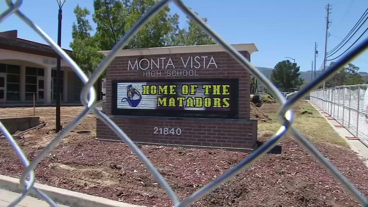 A sign appears outside Monte Vista High School in Cupertino on Tuesday, June 13, 2017.