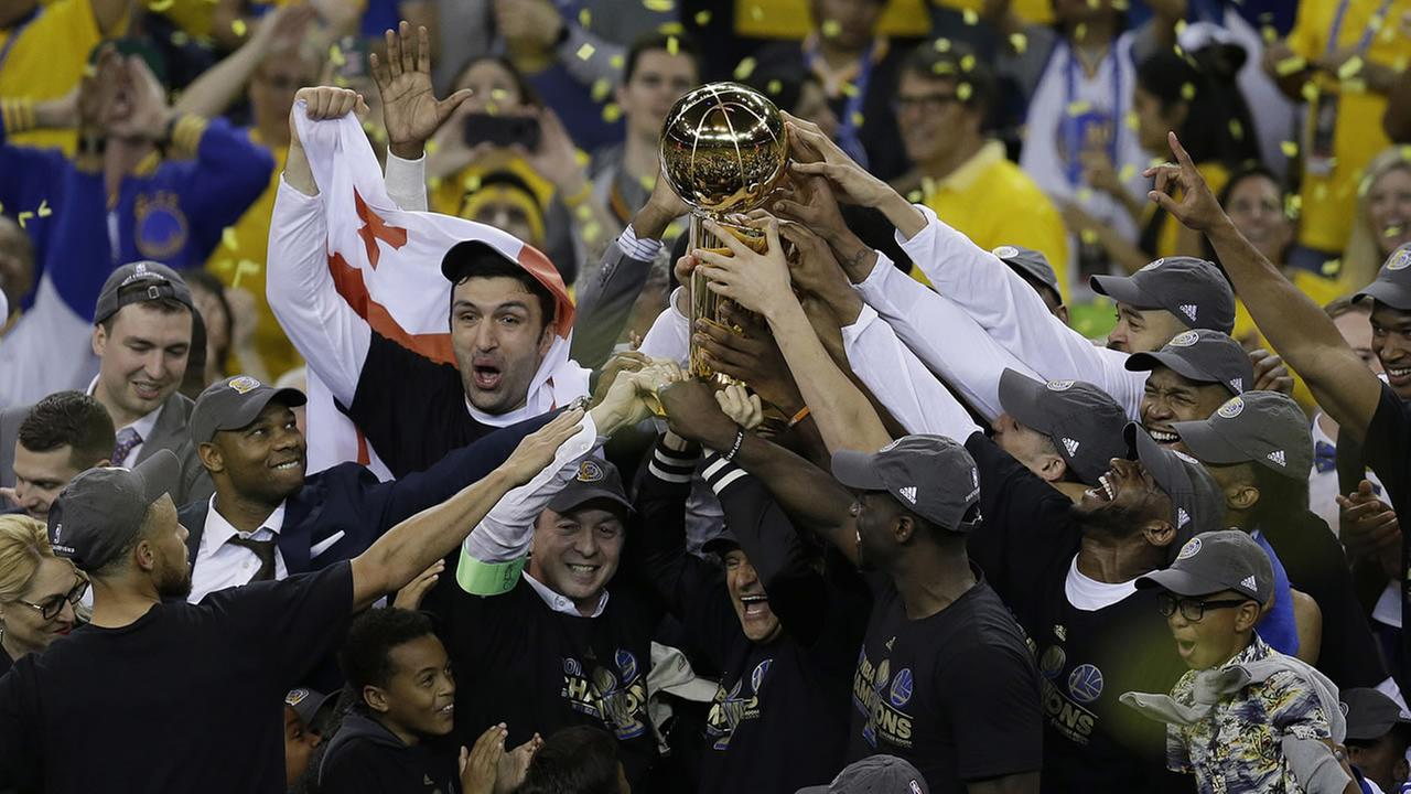 The Golden State Warriors celebrate their NBA Championship on June 14, 2017.