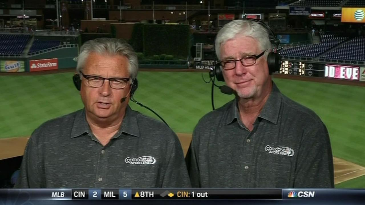 Longtime San Francisco Giants broadcasting team Duane Kuiper (left) and Mike Krukow (right).