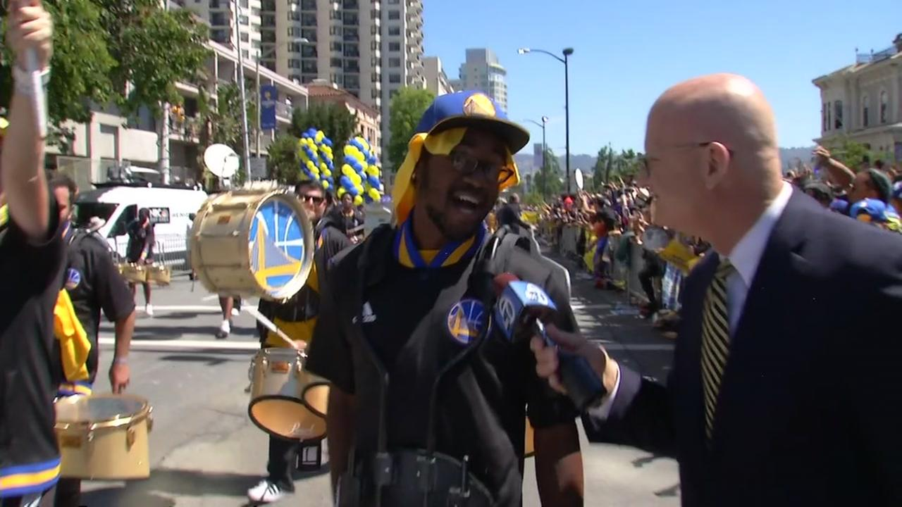 ABC7 News Wayne Freedman is seen at the Warriors parade in Oakland, Calif. on Thursday, June 15, 2017.KGO-TV