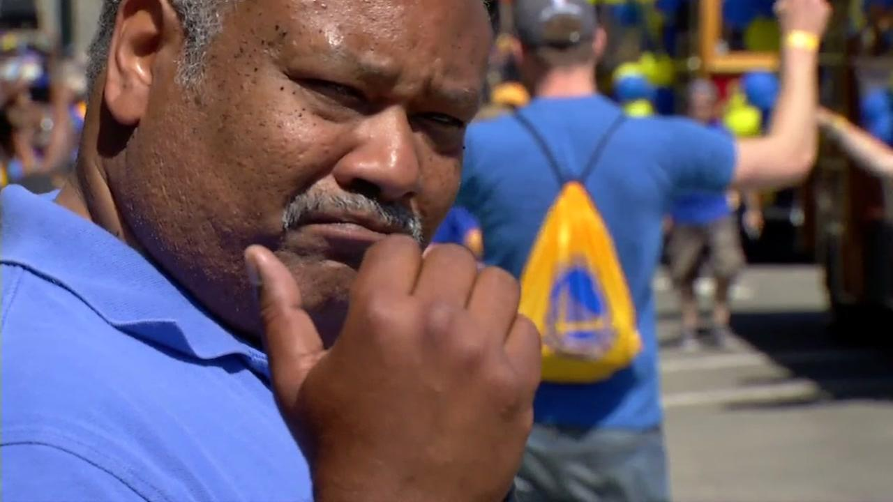 ABC7 News Eric Thomas is seen at the Warriors parade in Oakland, Calif. on Thursday, June 15, 2017.KGO-TV