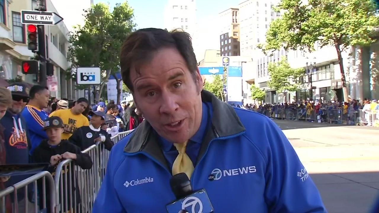 ABC7 News Cornell Barnard is seen at the Warriors parade in Oakland, Calif. on Thursday, June 15, 2017.KGO-TV