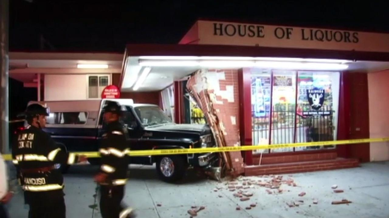 Truck slams into House of Liquors in San Leandro.