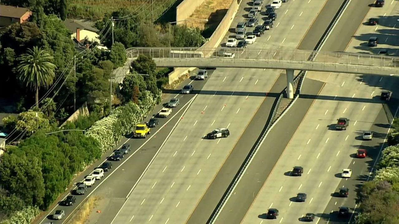 Sky7 is over I-680 after police activity closed all northbound lanes in Milpitas, Calif. on Monday, June 19, 2017.