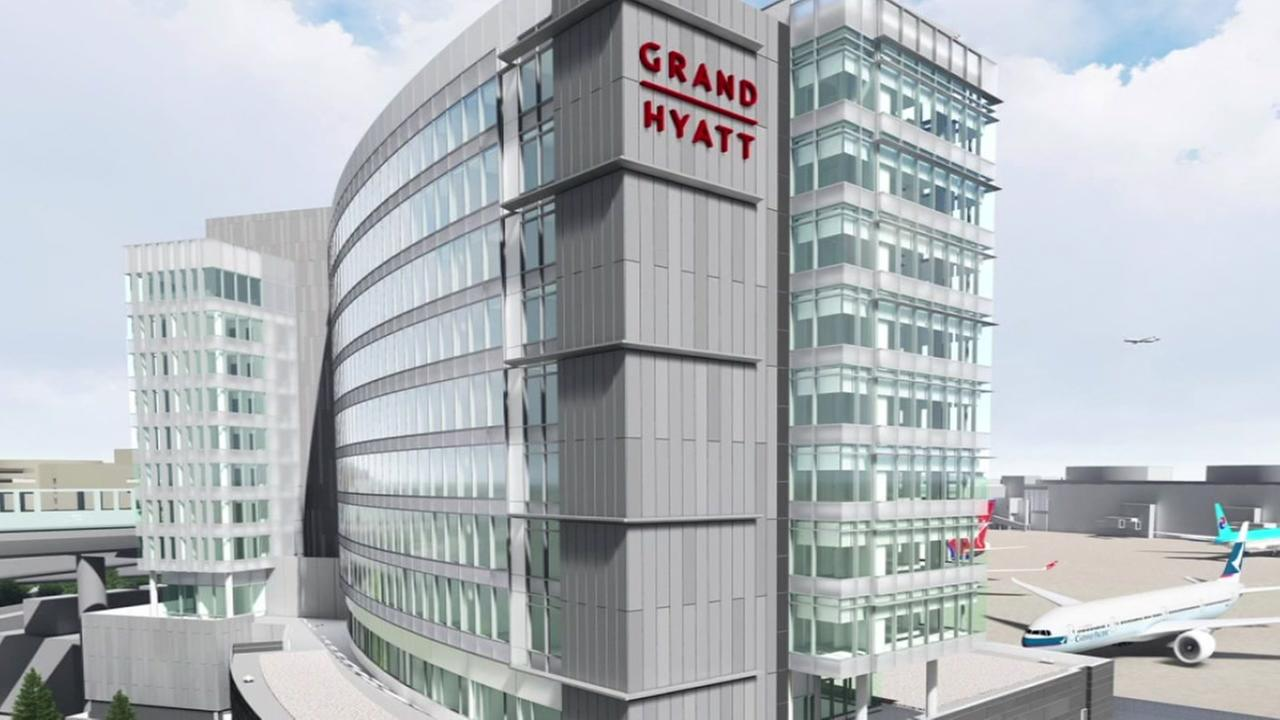 This rendering shows what the new Grand Hyatt hotel will look like at San Francisco International Airport.
