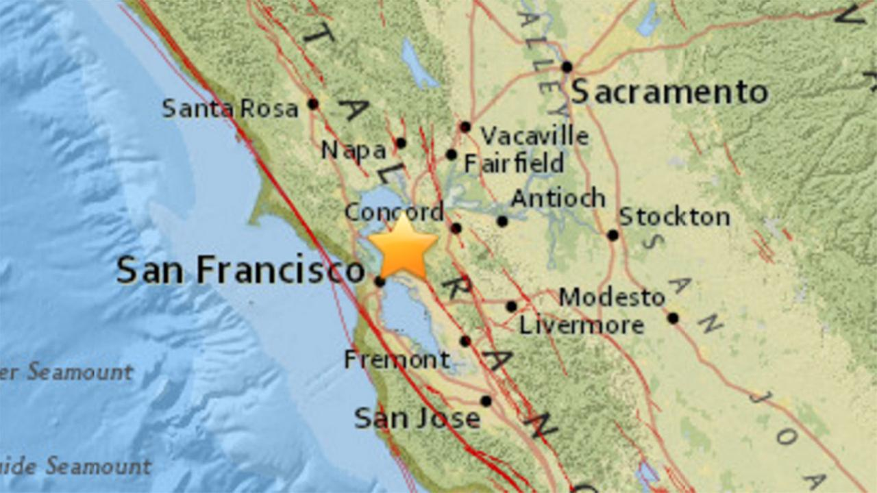 A 3.3 preliminary magnitude earthquake has struck 2.5 miles northwest of Berkeley, California, Wednesday, June 21, 2017.
