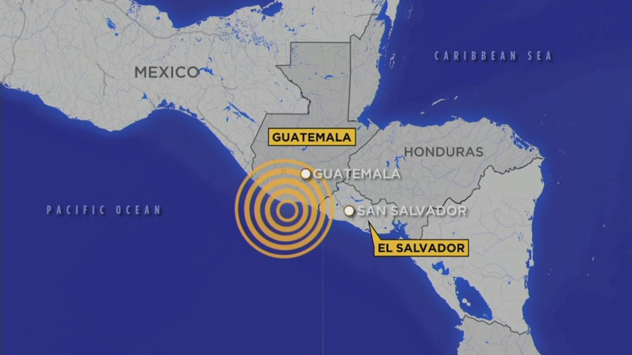 A map shows where an earthquake struck off Guatemalas Pacific coast on Thursday, June 22, 2017.