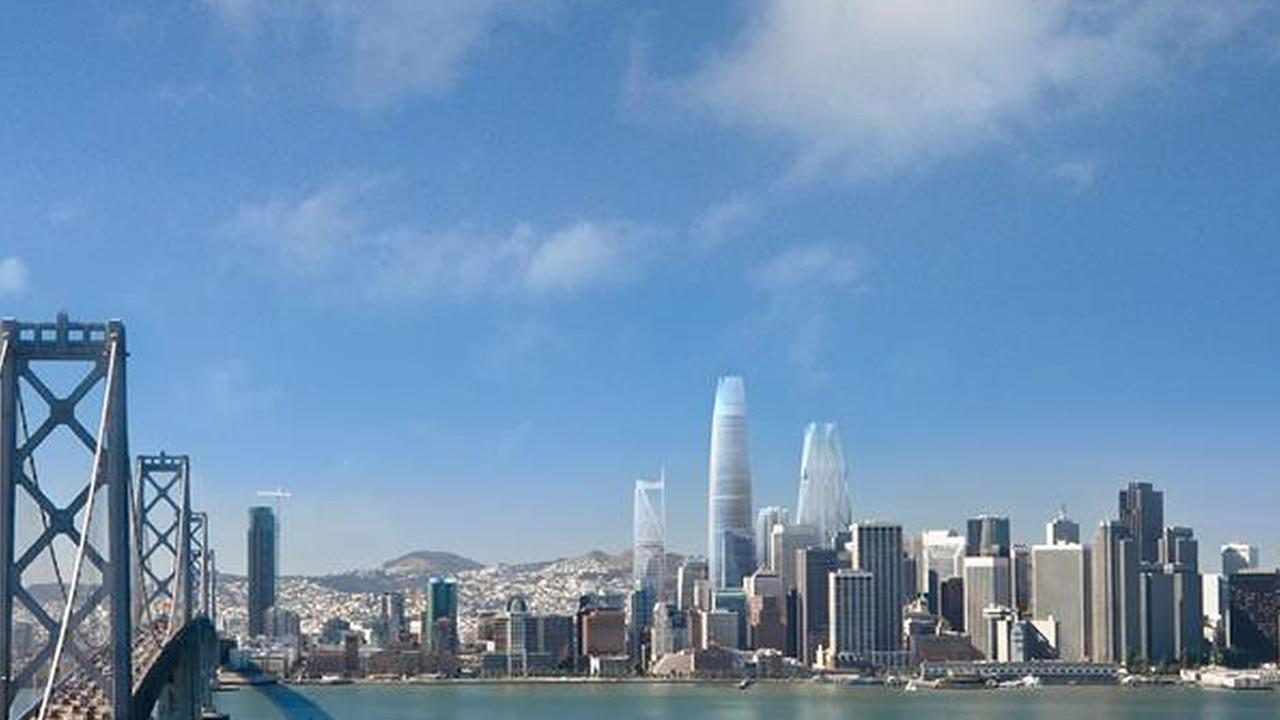 TMG/Foster + Partners rendering of the proposed skyline changes in San Francisco.