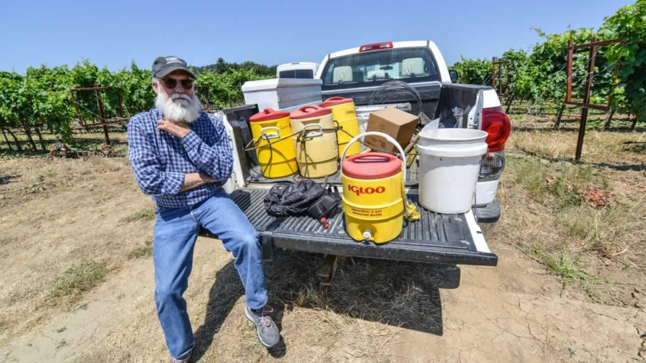 Duff Bevill sits on a water truck in the middle of a vineyard in Sonoma County, Calif. on Thursday, June 22, 2017.