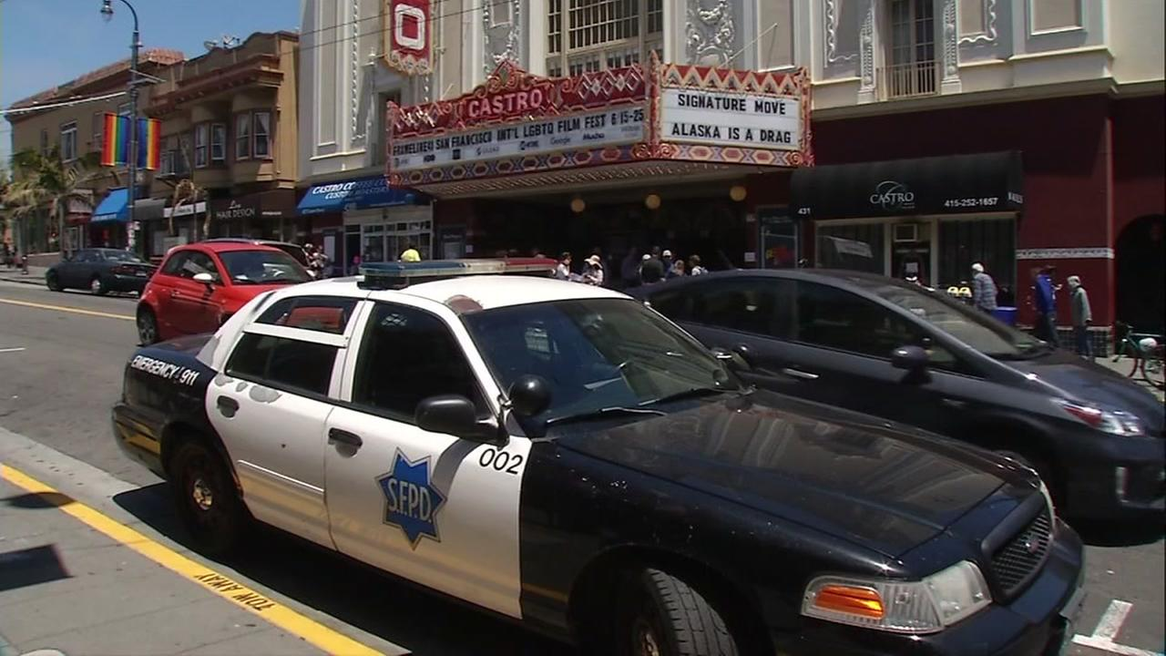 An SFPD cruiser is parked in front of the Castro Theater in San Francisco on Friday, June 23, 2017.