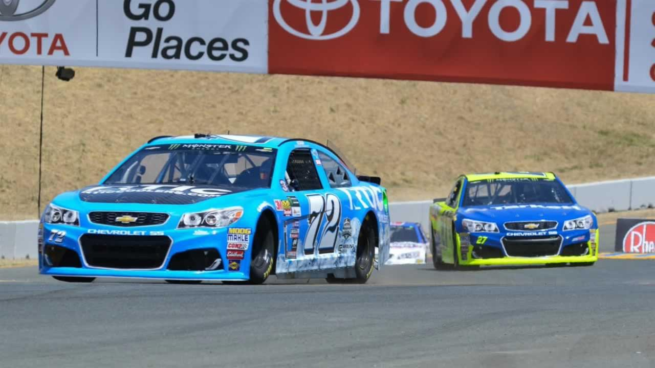 Race cars drive up turn 2 at Sonoma Raceway on Friday, June 23, 2017.