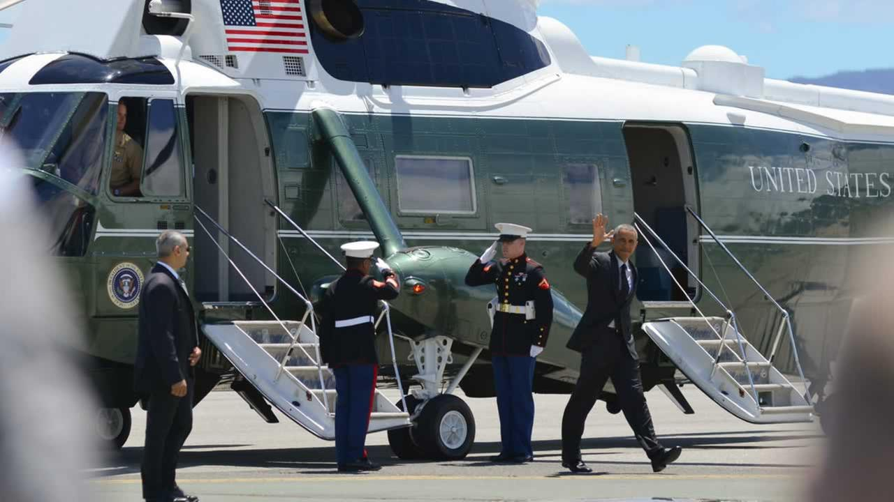POTUS exits Marine One.ABC7 News/Wayne Freedman