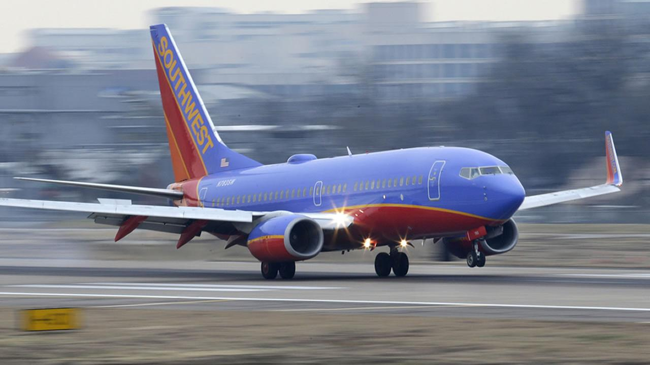 A file photo of a Southwest flight landing.