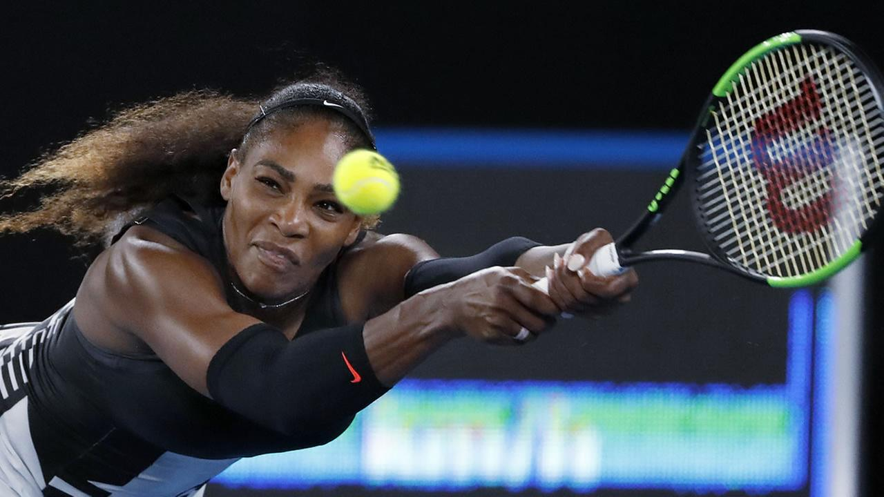 Serena Williams reaches for a backhand to her sister, Venus, during the womens singles final at the Australian Open tennis championships in Australia on  Jan. 28, 2017. (AP Photo)