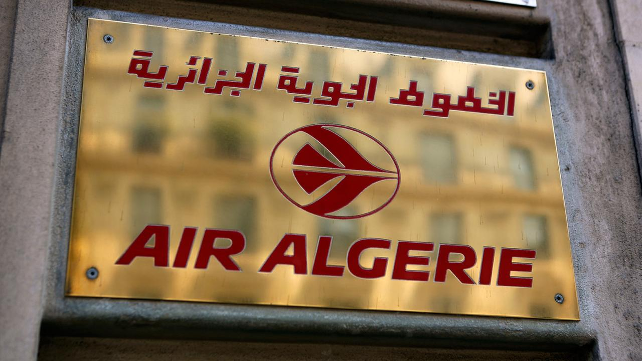 FILE -- The logo of the Air Algerie company office, at the Opera avenue in Paris Thursday July 24, 2014.