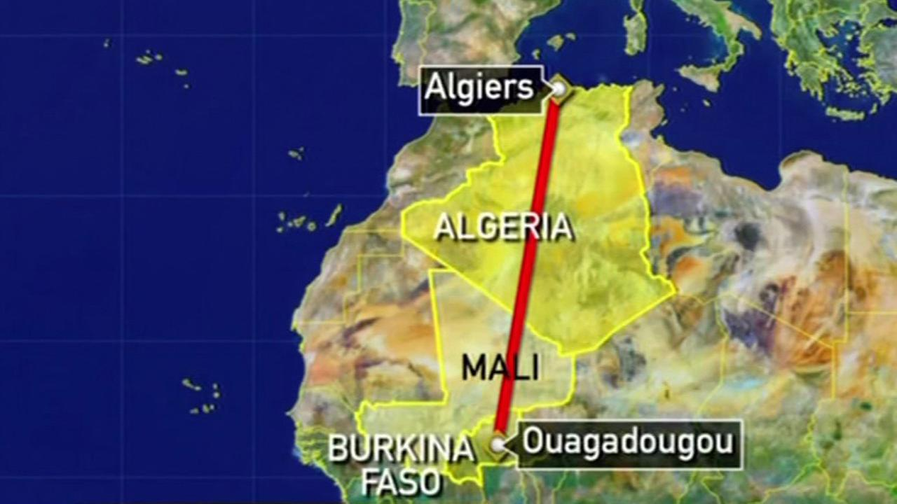 Map of Air Algeria flight path.