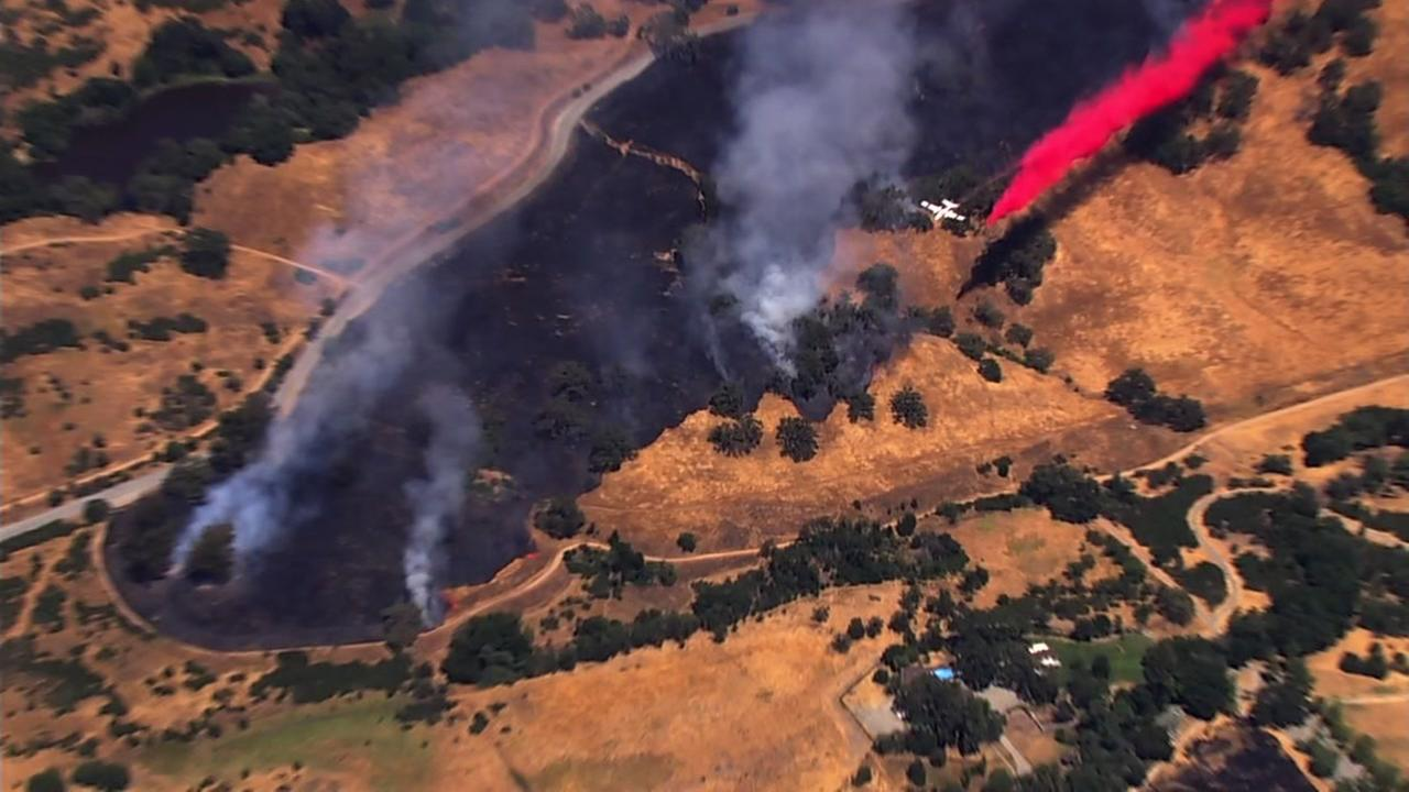 Sky7 was above grass fires burning on Mount Hamilton in Santa Clara County, Calif. on Thursday, June 29, 2017.