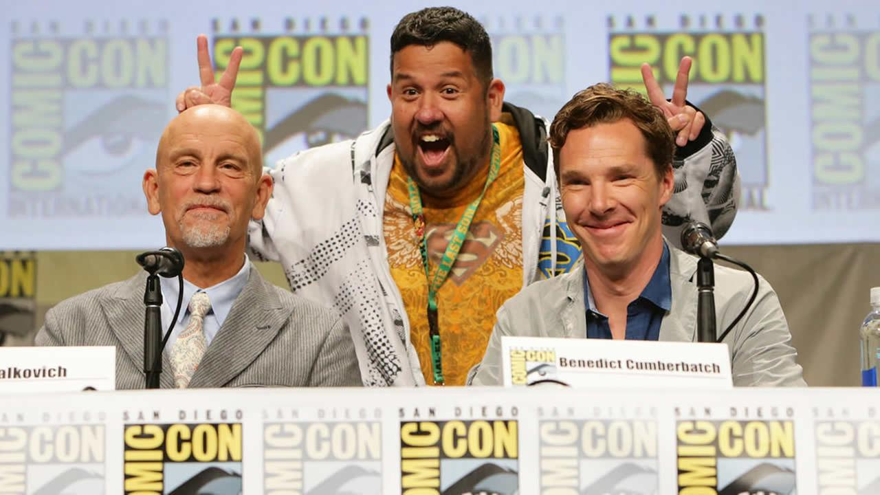 John Malkovich and Benedict Cumberbatch seen at DreamWorks Animation Panel at 2014 Comic-Con on Thursday, July 24, 2014, in San Diego, CA. (Photo by Eric Charbonneau/Invision for Twentieth Century Fox/AP Images)