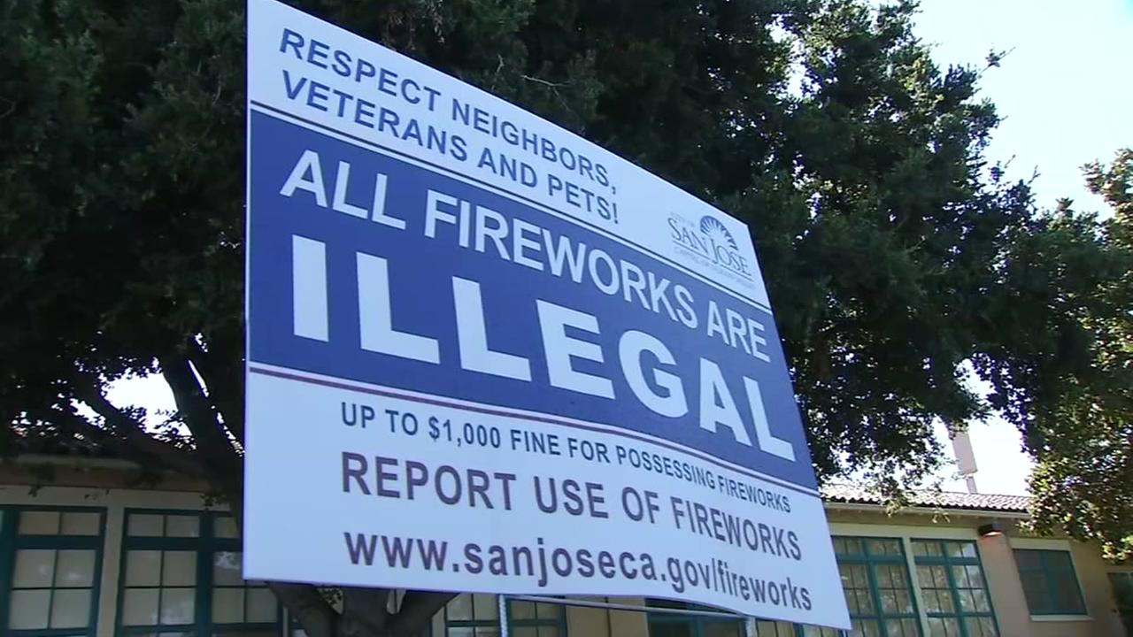 An illegal fireworks sign appears in a yard in San Jose, Calif. on Monday, July 3, 2017.