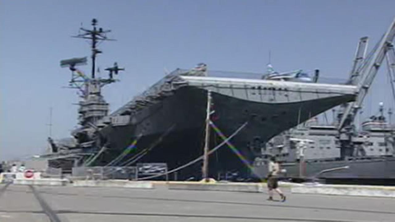 The USS Hornet is pictured in Alameda, Calif. in this undated file photo.