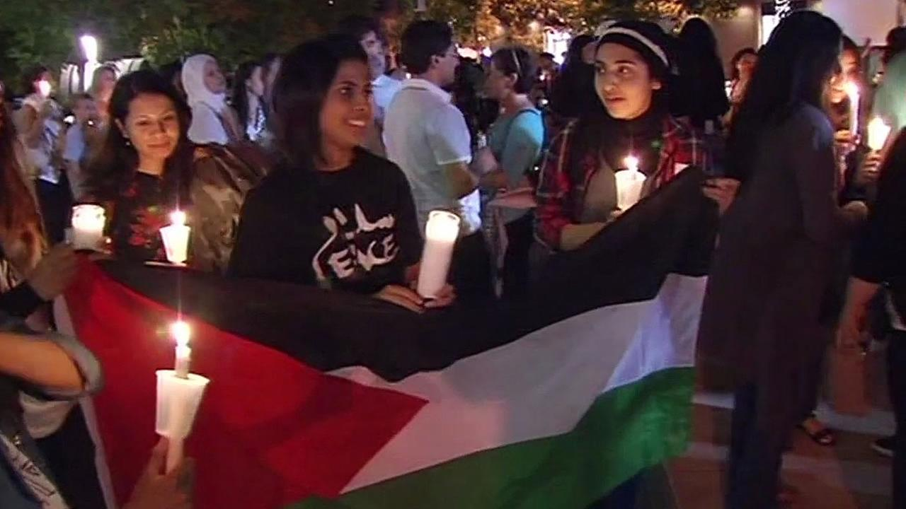 Palestinians hold flag in Lytton Plaza
